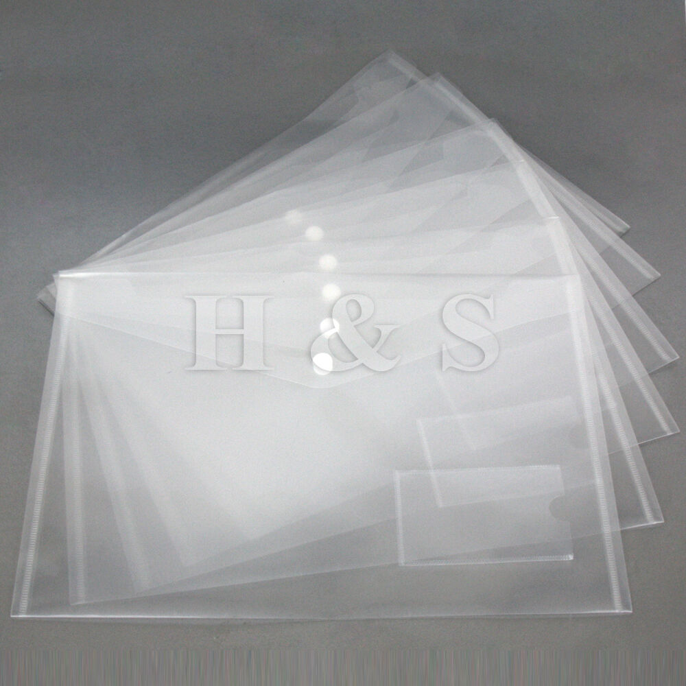 High Quality A4 Plastic Clear Popper Document Wallet File
