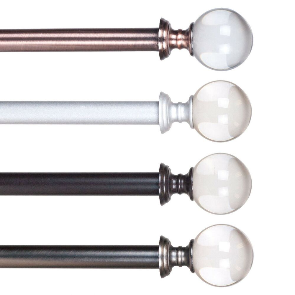 Crystal Ball Metal Grommet Curtain Rod 48 To 86 Inches