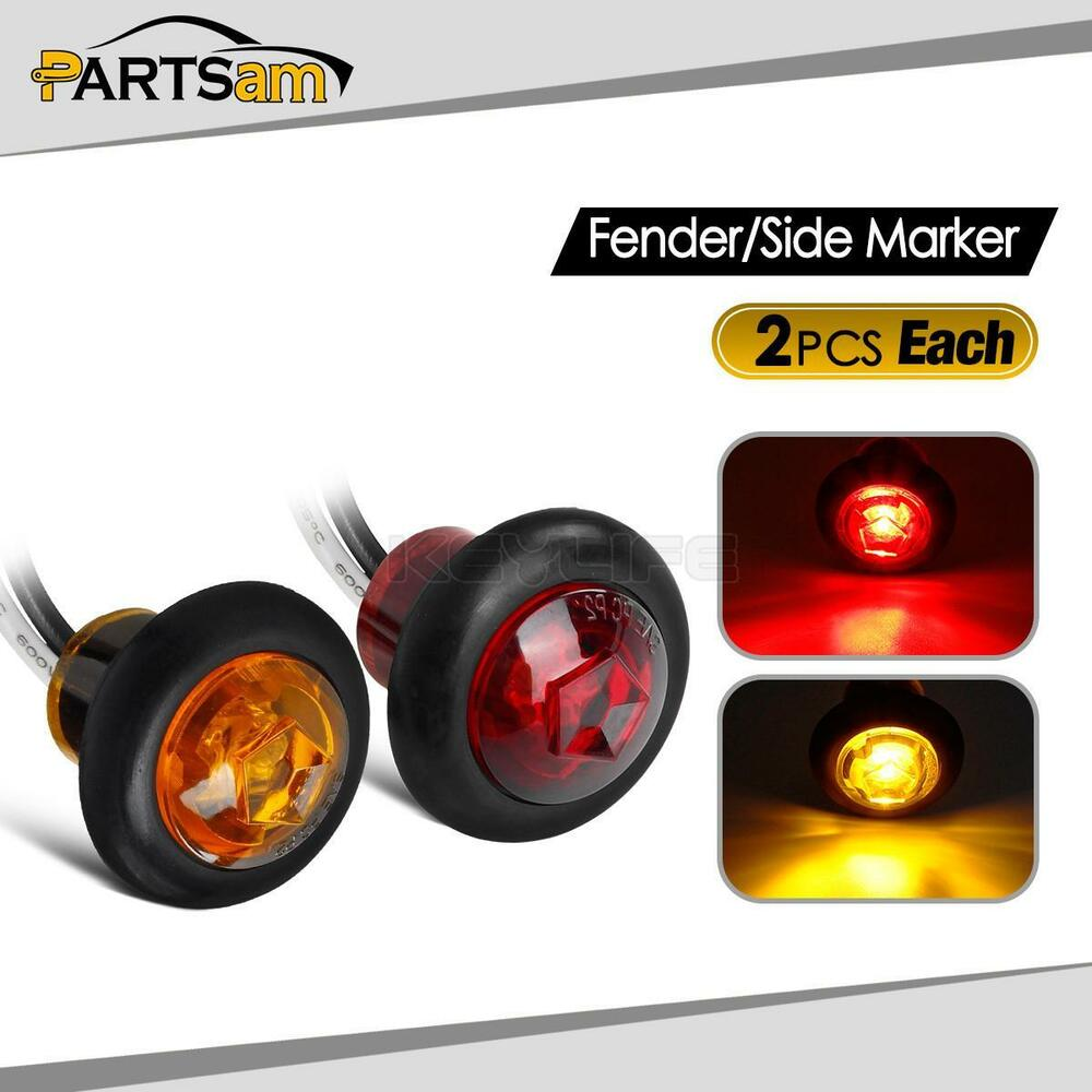 4x 3 4 Quot Amber Red Led Clearance Side Marker Lights For