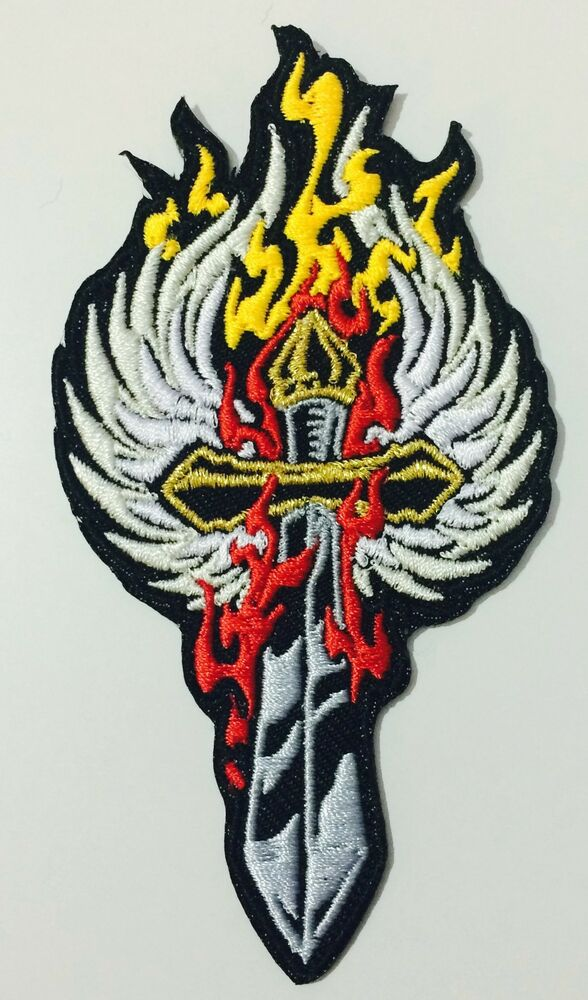 Flame sword biker mc patch ebay for Mirror 18 patch