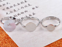 Wholesale 20PCS Silver plate Adjustable Ring Base Blank Jewelry Finding 10mm Pad