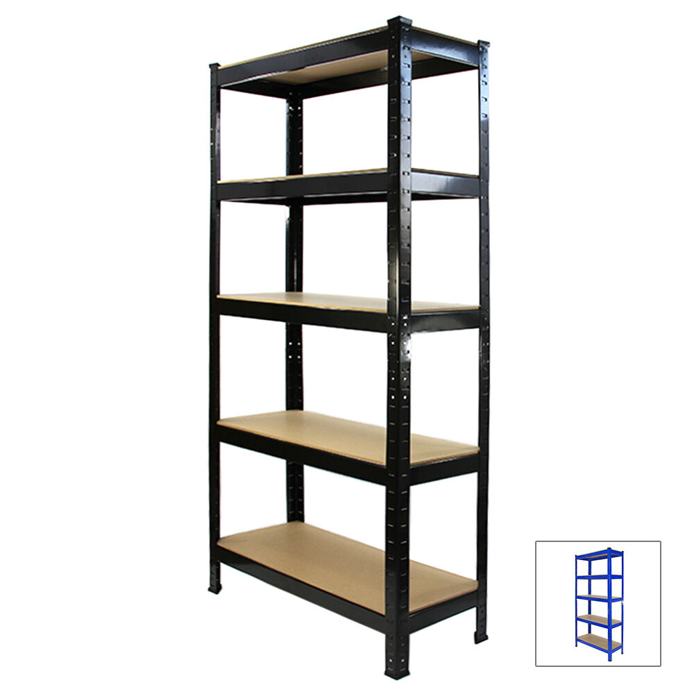 racking storage shelving heavy duty garage 5 tier 75cm steel shelves warehouse ebay. Black Bedroom Furniture Sets. Home Design Ideas
