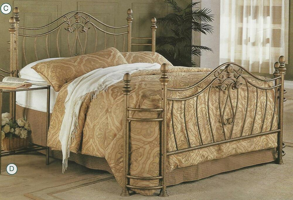 Headboard And Footboard Queen: NEW QUEEN Or FULL SIZE GOLD FINISH IRON METAL HEADBOARD
