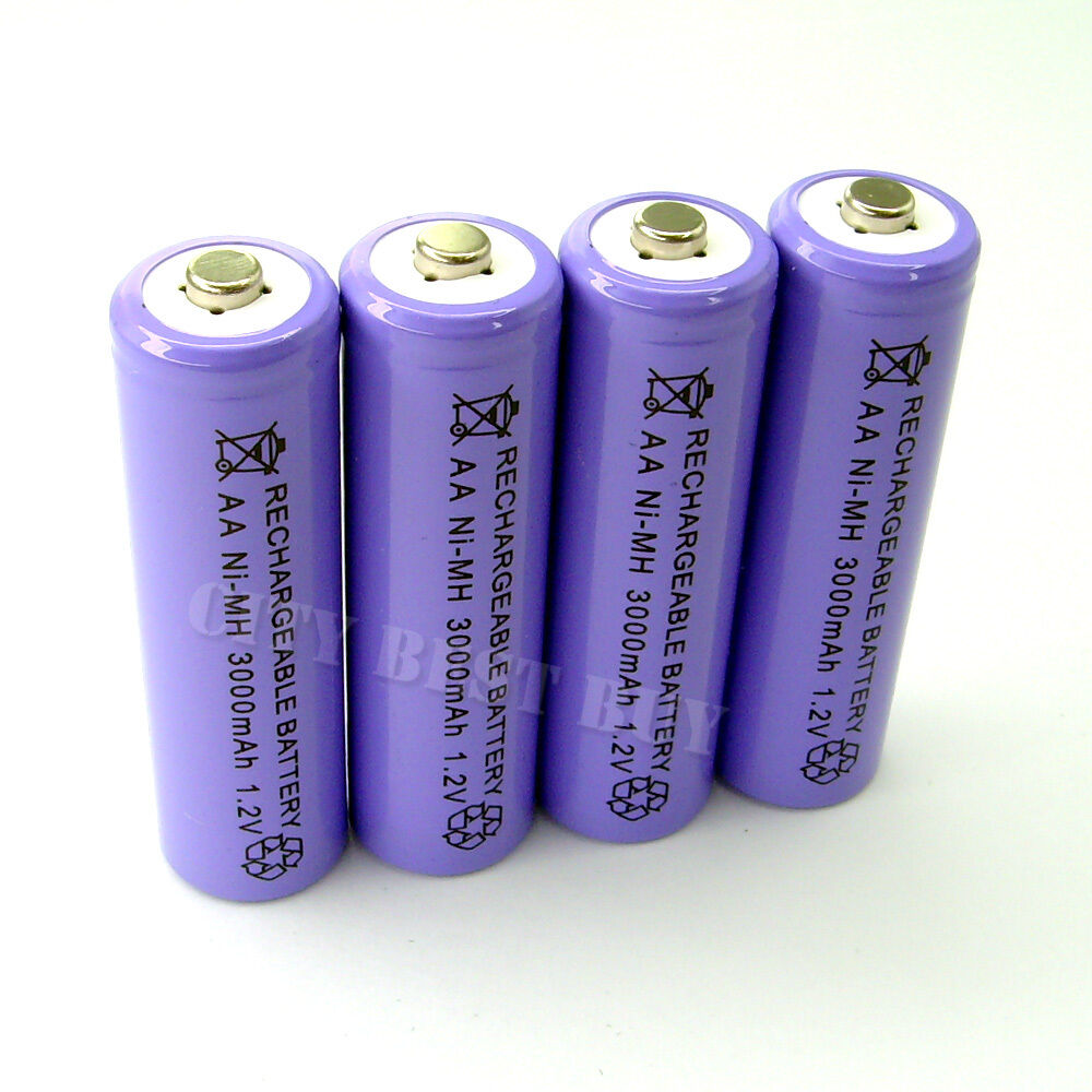 4pcs aa 2a 3000mah 1 2v rechargeable recharge battery. Black Bedroom Furniture Sets. Home Design Ideas