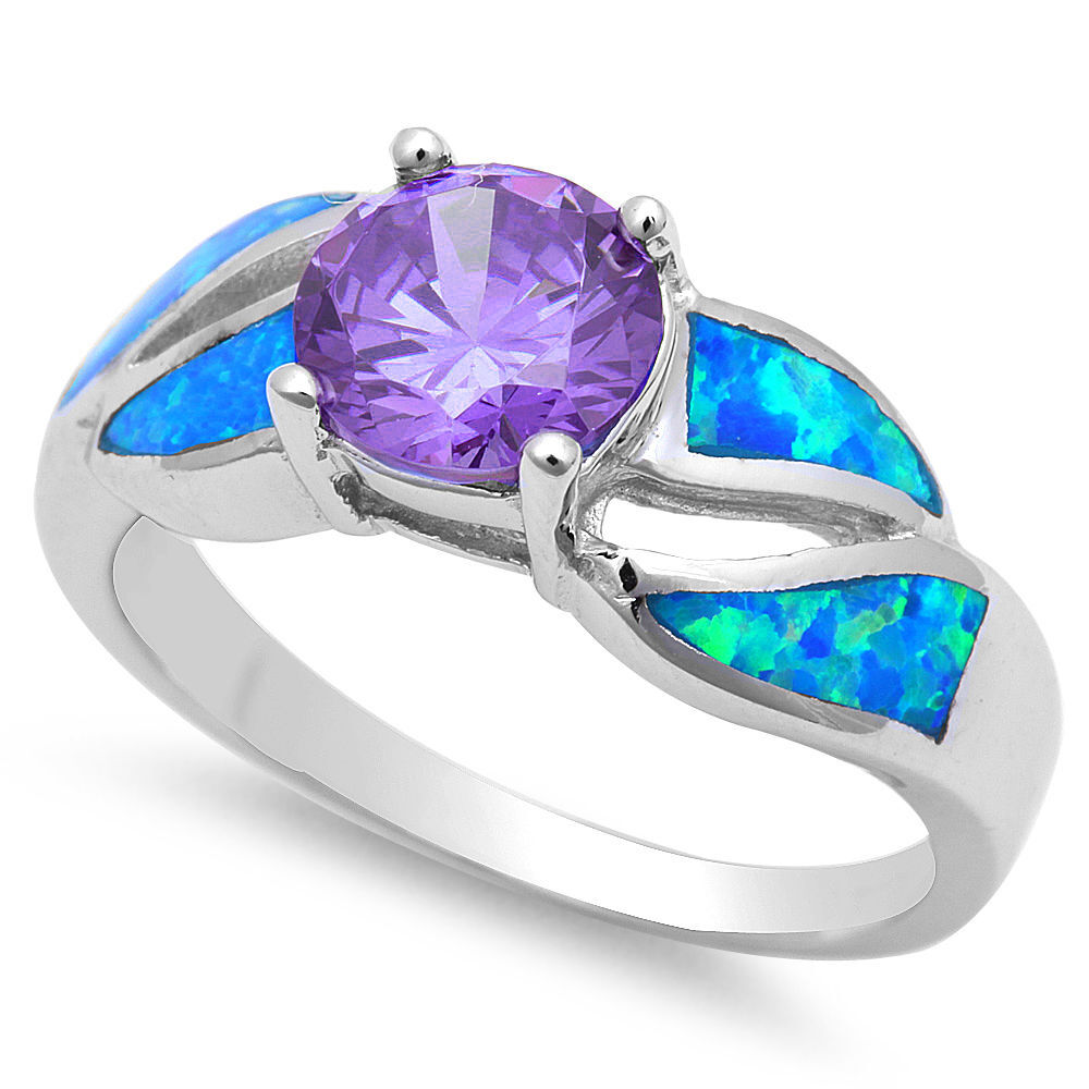 Faceted Amethyst Amp Blue Opal 925 Sterling Silver Ring