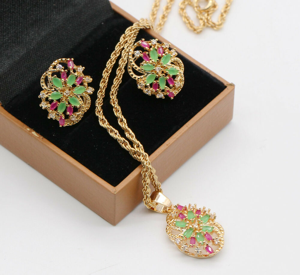 natural red ruby gemstones green emerald necklace earrings. Black Bedroom Furniture Sets. Home Design Ideas