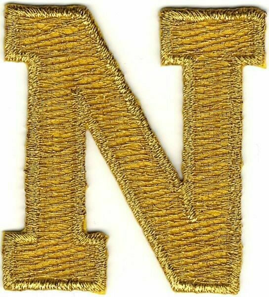 Mhs metallic gold block letter patch