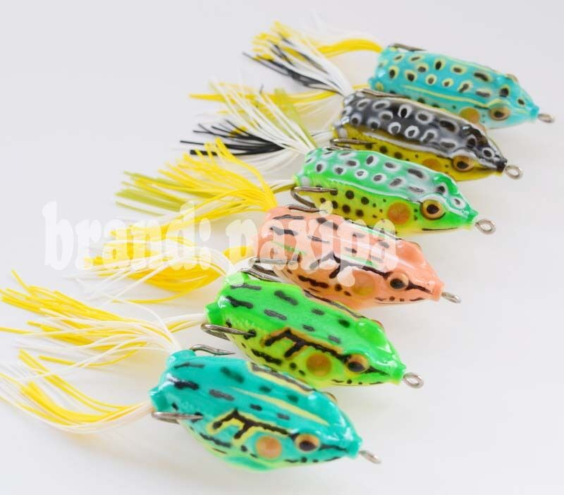 Lot 6 Rubber Soft Bass Frog Baits Fishing Lures Top water ...