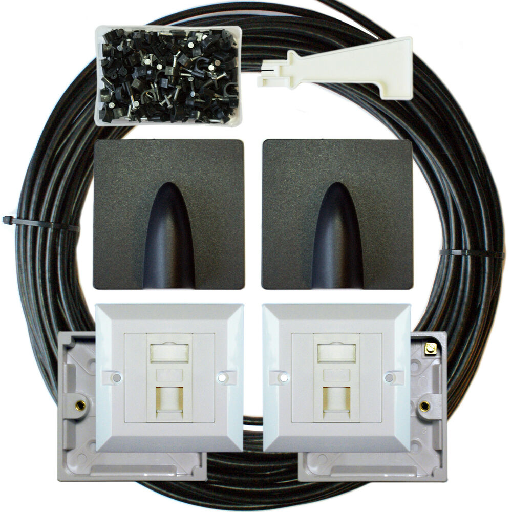 50m cat6 extension outdoor external cable kit rj45. Black Bedroom Furniture Sets. Home Design Ideas