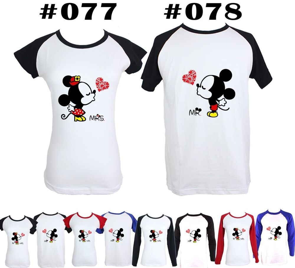 Couple t shirt design white - Disney Mr Mickey Kiss Mrs Minnie Mouse Design Couple T Shirt Graphic Tee Tops Ebay