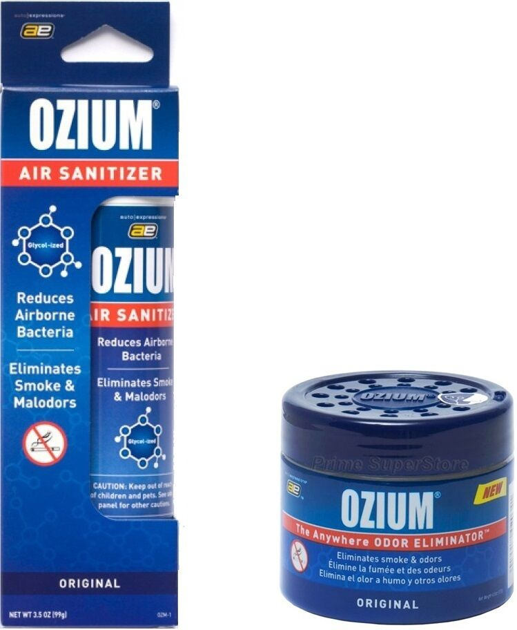 Car Odor Eliminator >> OZIUM Original Scent Smoke/Odors Eliminator Air Freshener 4.5 oz Gel & 3.5 Spray | eBay