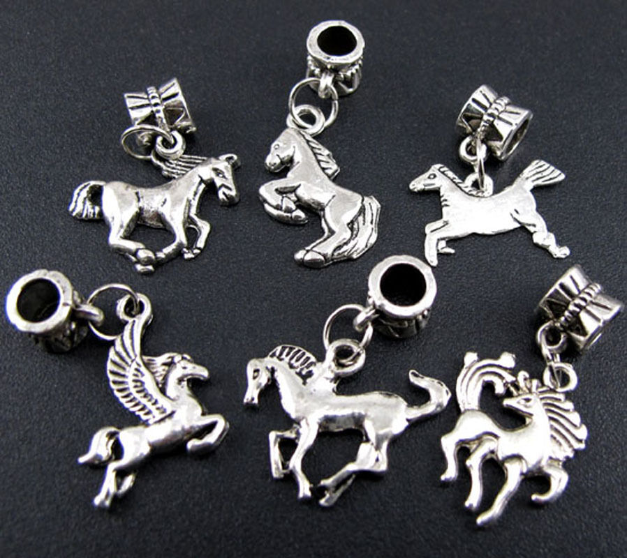 Picture Charms For Bracelets: 100pcs Lots Wholesale Charms Silver Running Horse Beads
