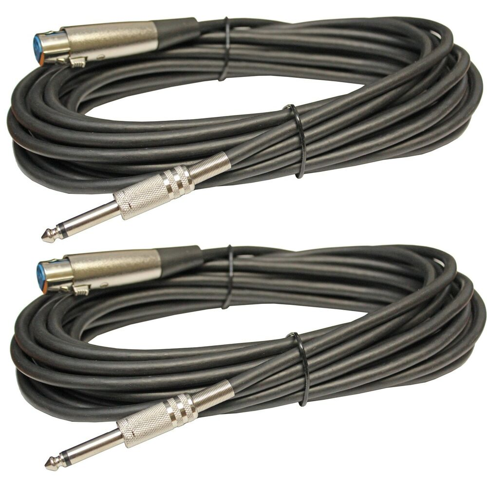 2 xlr female to 1 4 mono male mic microphone shielded extension cables 25ft foot ebay. Black Bedroom Furniture Sets. Home Design Ideas