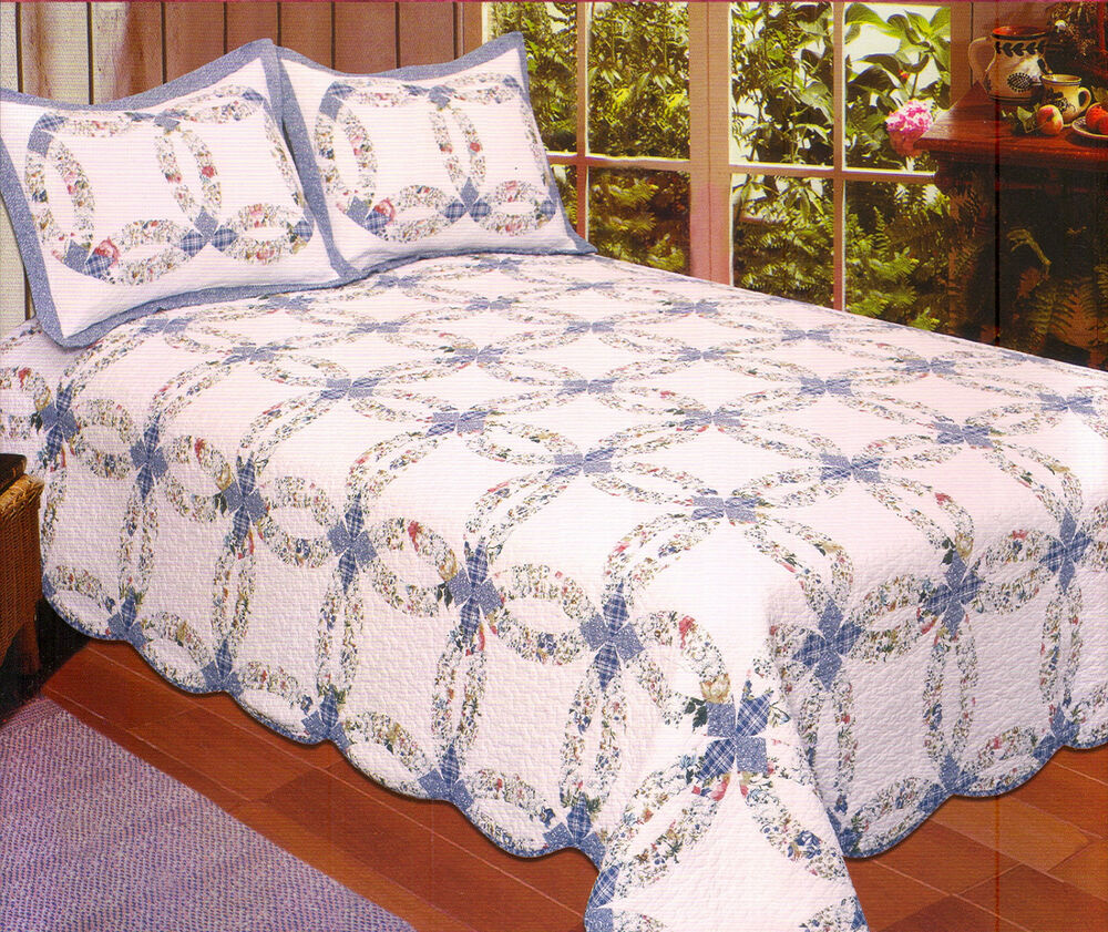 BLUE WEDDING RING King QUILT SET : COTTAGE ROMANTIC