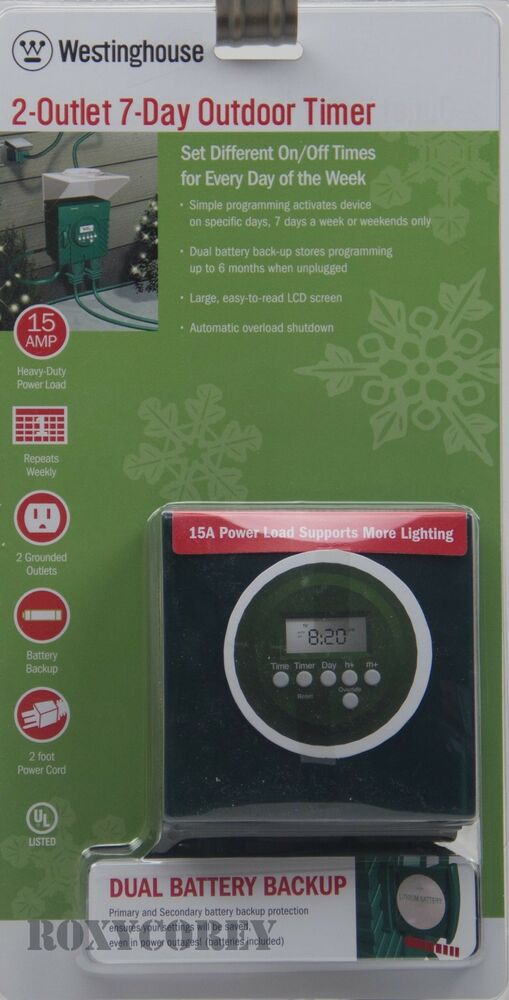 Westinghouse Time Capsules: 2 Outlet 7 Day Outdoor Timer Digital