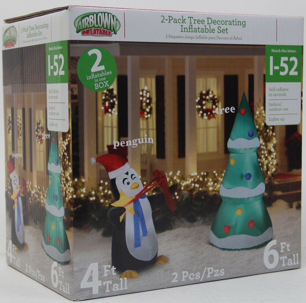 Gemmy Christmas 10 W Airblown Inflatable Winter Carolers: Christmas Gemmy 4 Ft Penguin & Tree Lights Up Airblown