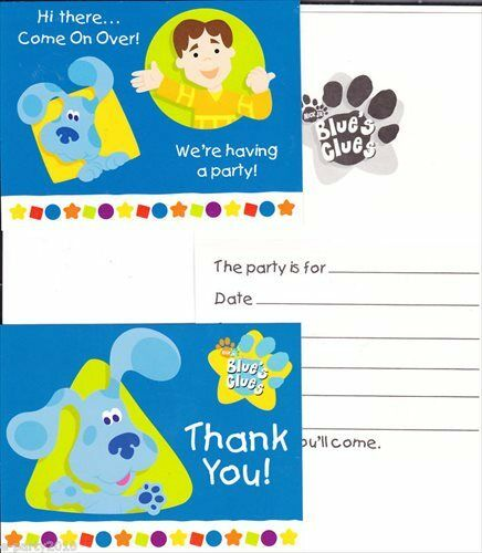 BLUE'S CLUES SHAPES INVITES & THANK YOUS (8)