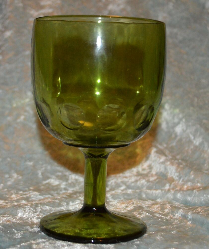 Heavy Thick Green Hobnail Bubble Goblet Glass Wine