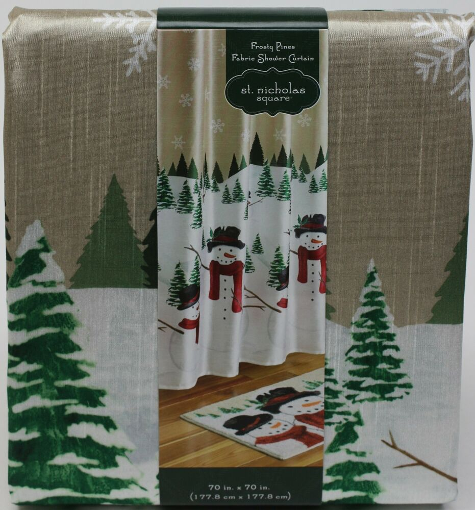 Christmas St Nicholas Square Snowman Frosty Pines Fabric