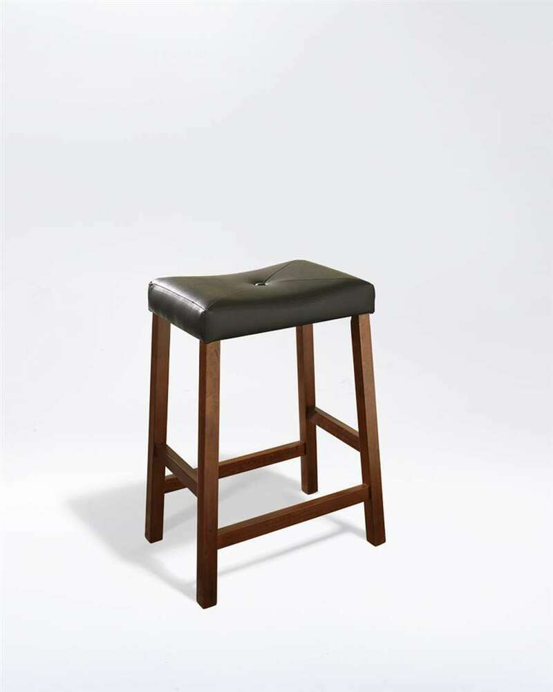 Crosley Upholstered Saddle Seat 24 Bar Stools Cherry