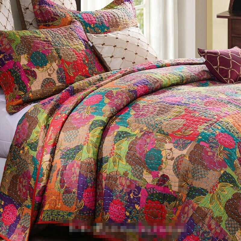 Jewel red 3pc king quilt set moroccan boho floral tone - Drap housse king size ...
