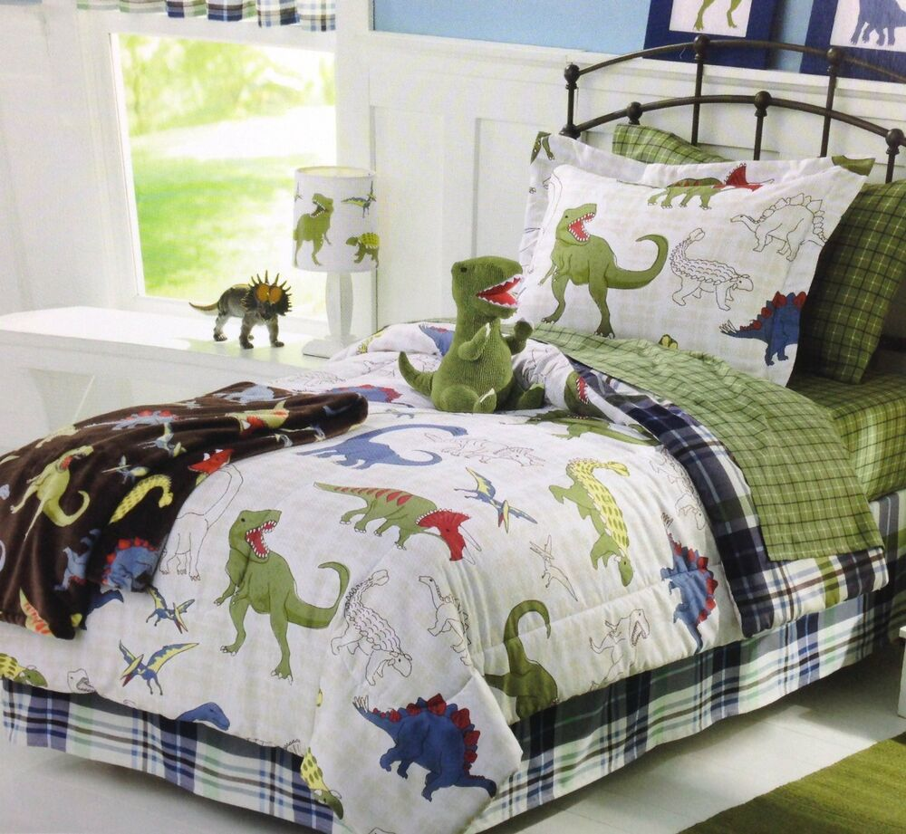 blue green white dinosaurs boys twin comforter set 5 piece bed in a bag ebay. Black Bedroom Furniture Sets. Home Design Ideas