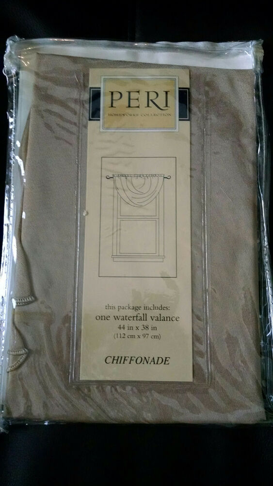 Peri homeworks collection chiffonade waterfall valance 44 quot x38 quot khaki