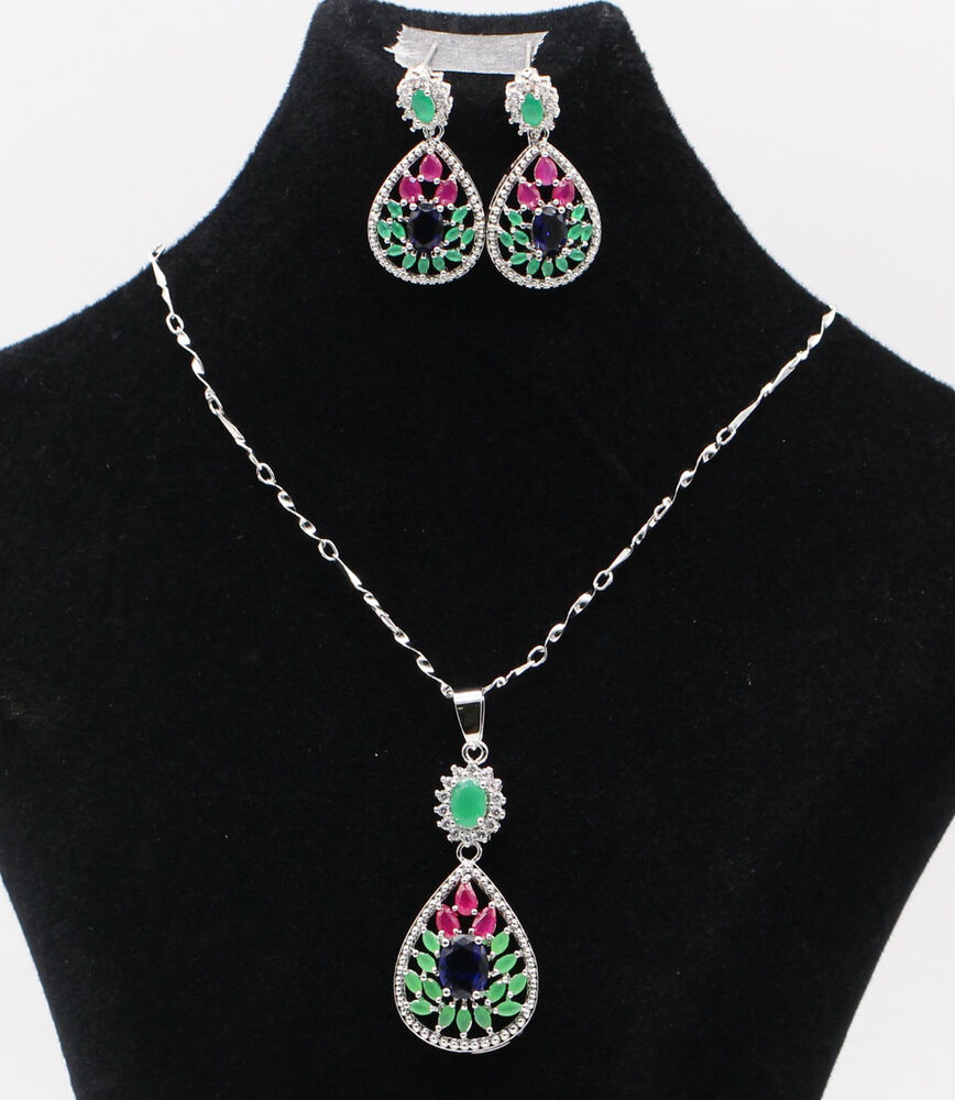 natural ruby green emerald blue sapphire necklace. Black Bedroom Furniture Sets. Home Design Ideas