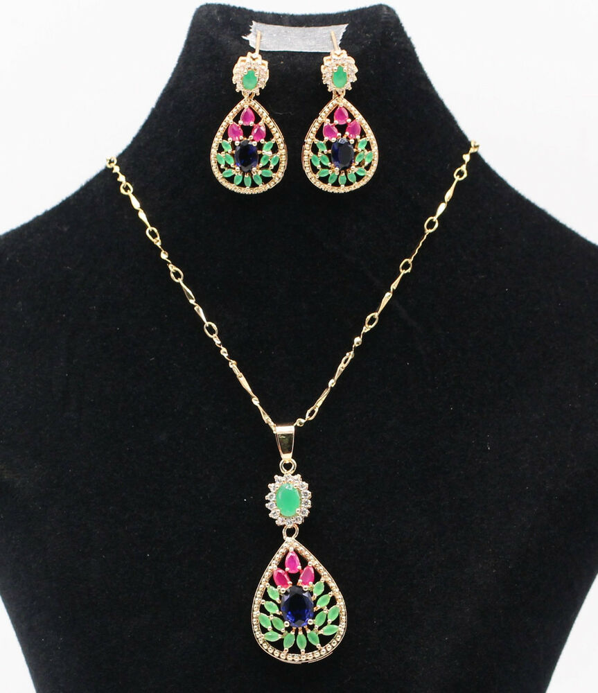 sapphire necklace and earrings set ruby green emerald blue sapphire necklace 8069