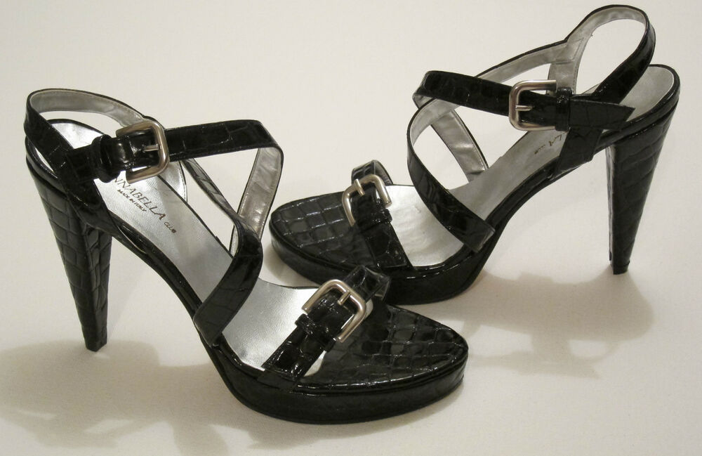 5ff22ae45391 Details about Annabella Club shoes strappy alligator texture patent leather  sz 39 9