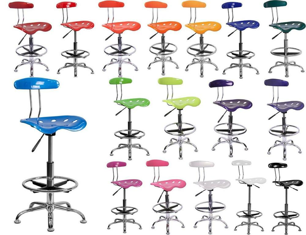 Drafting Stool Swivel Tractor Seat Chrome Adjustable Bar