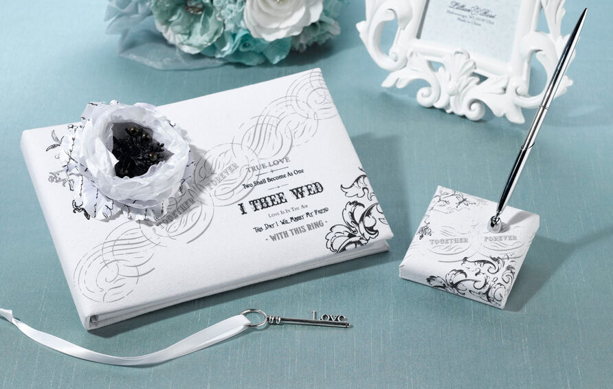 True Love White Cotton Canvas Wedding Guest Book And Pen Set
