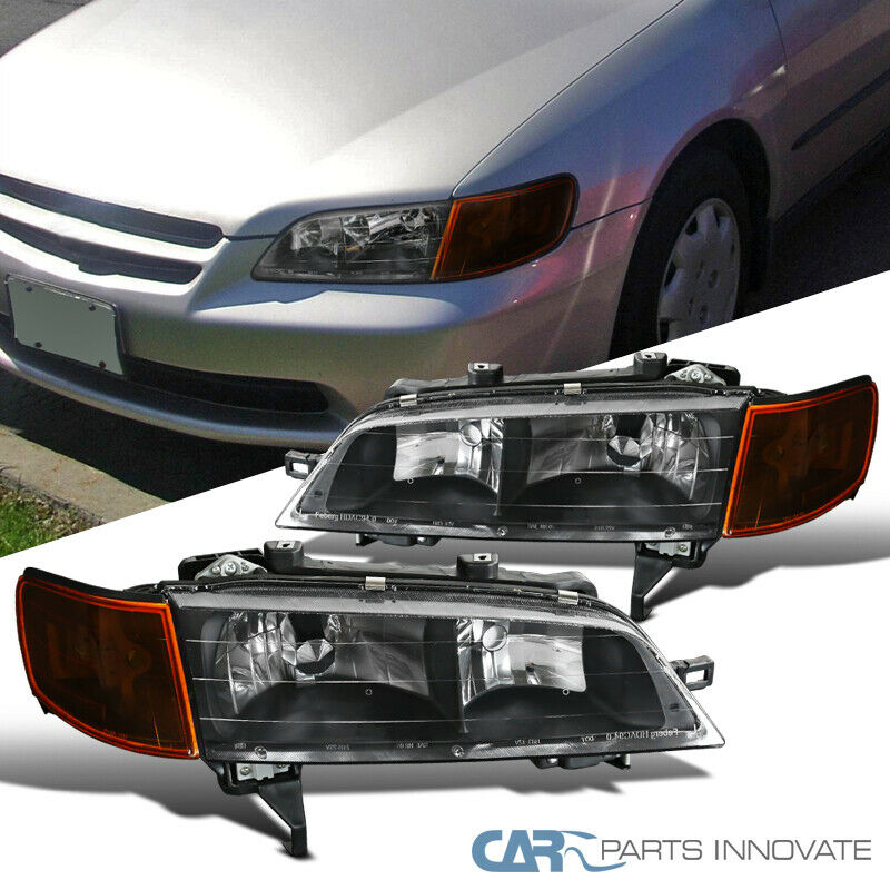 Fit 94-97 Honda Accord Replacement Black Headlights Amber