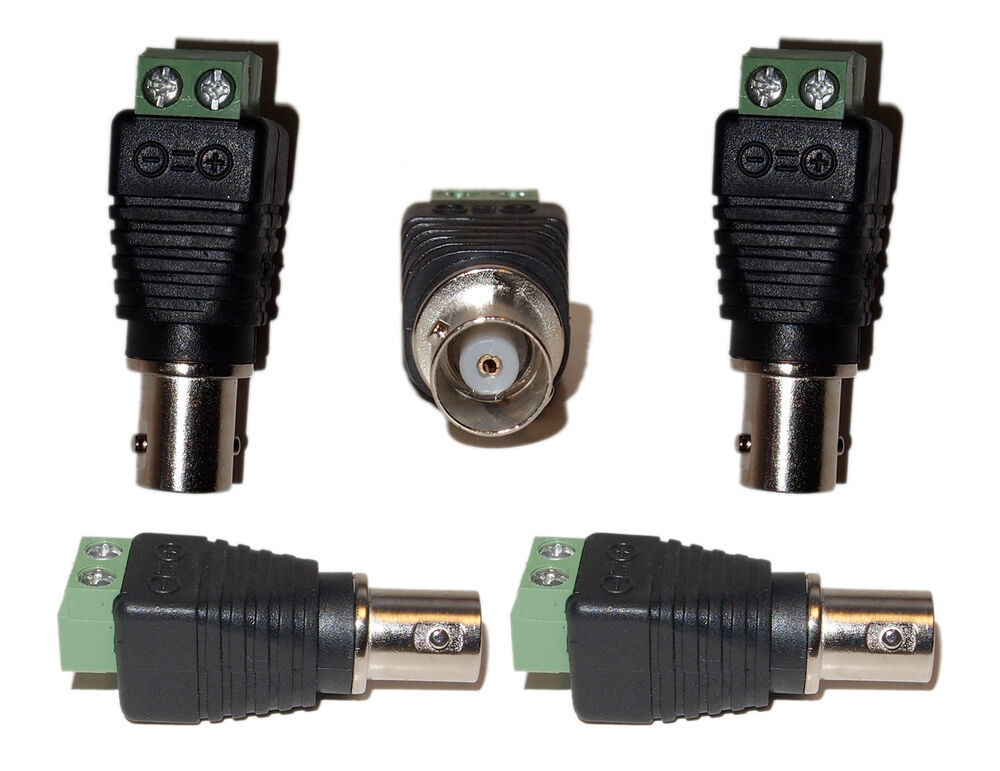 Security Camera Cables And Connectors : Cat to bnc cctv security camera coaxial connector