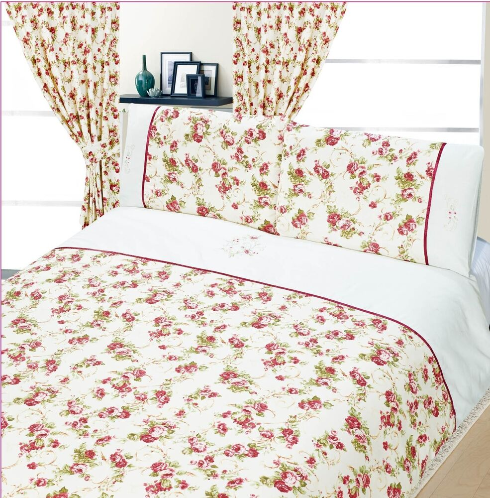 PRETTY FLORAL DUSKY PINK SHABBY CHIC DUVET COVER BED SET
