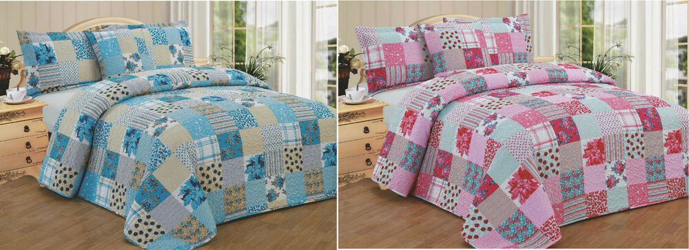 Quilted Comforter Bedspread Patchwork Single Double King Pillowsham Pink Blue