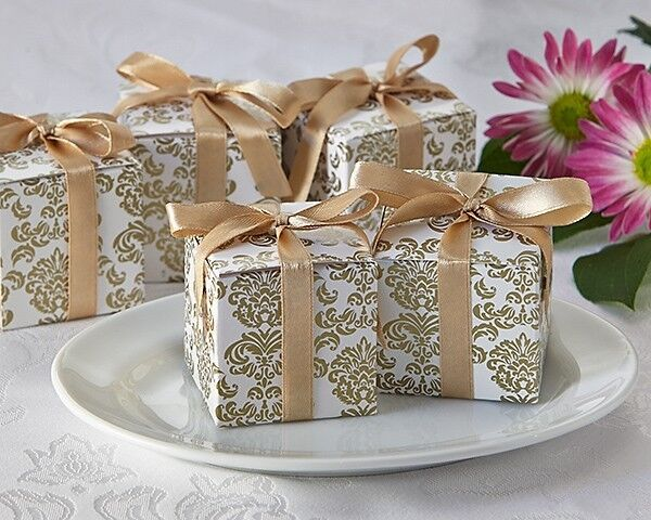 Wedding Gift Boxes: 24 Classic Damask White And Gold Wedding Favor Boxes