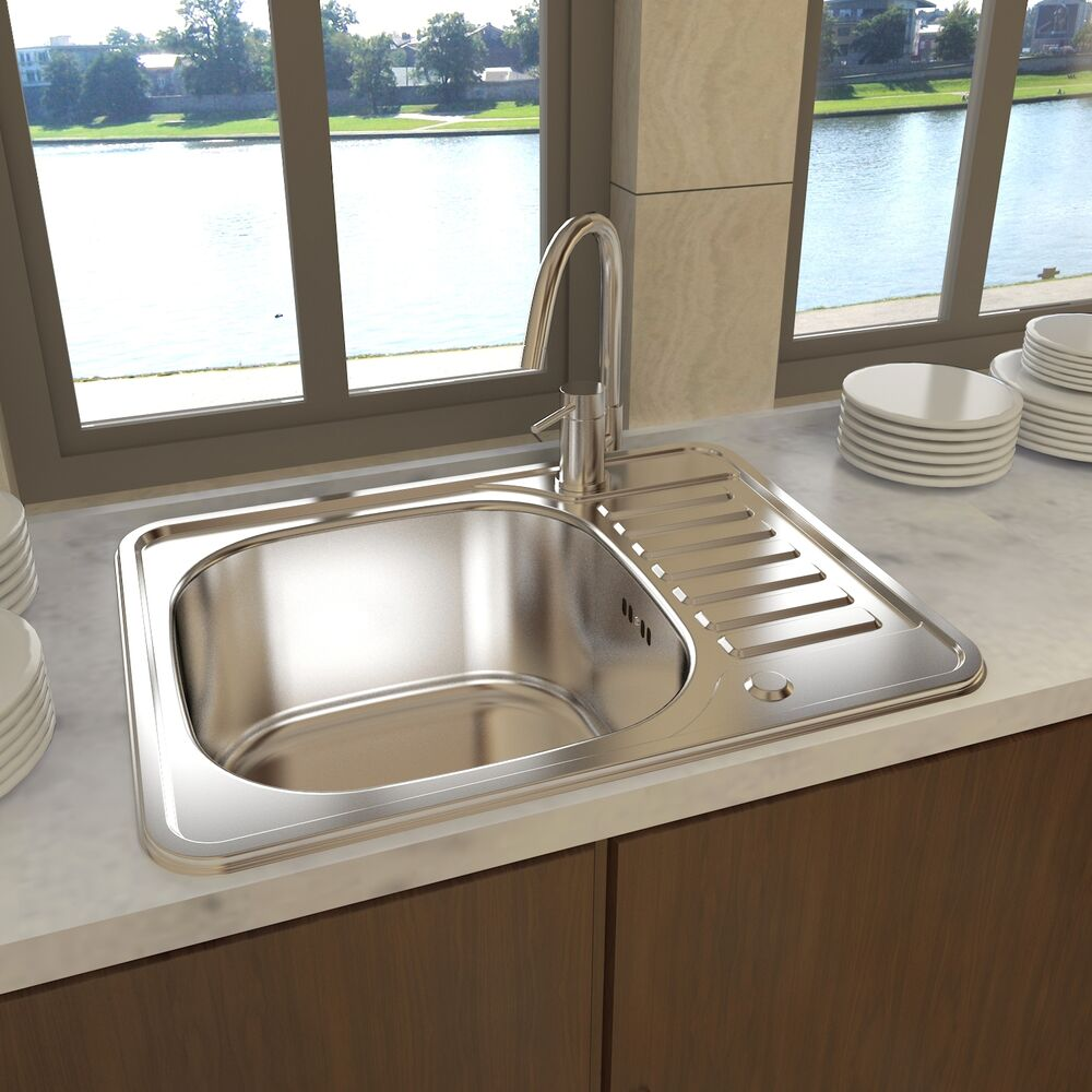 New square kitchen sink stainless steel with drain for Evier 50 x 60