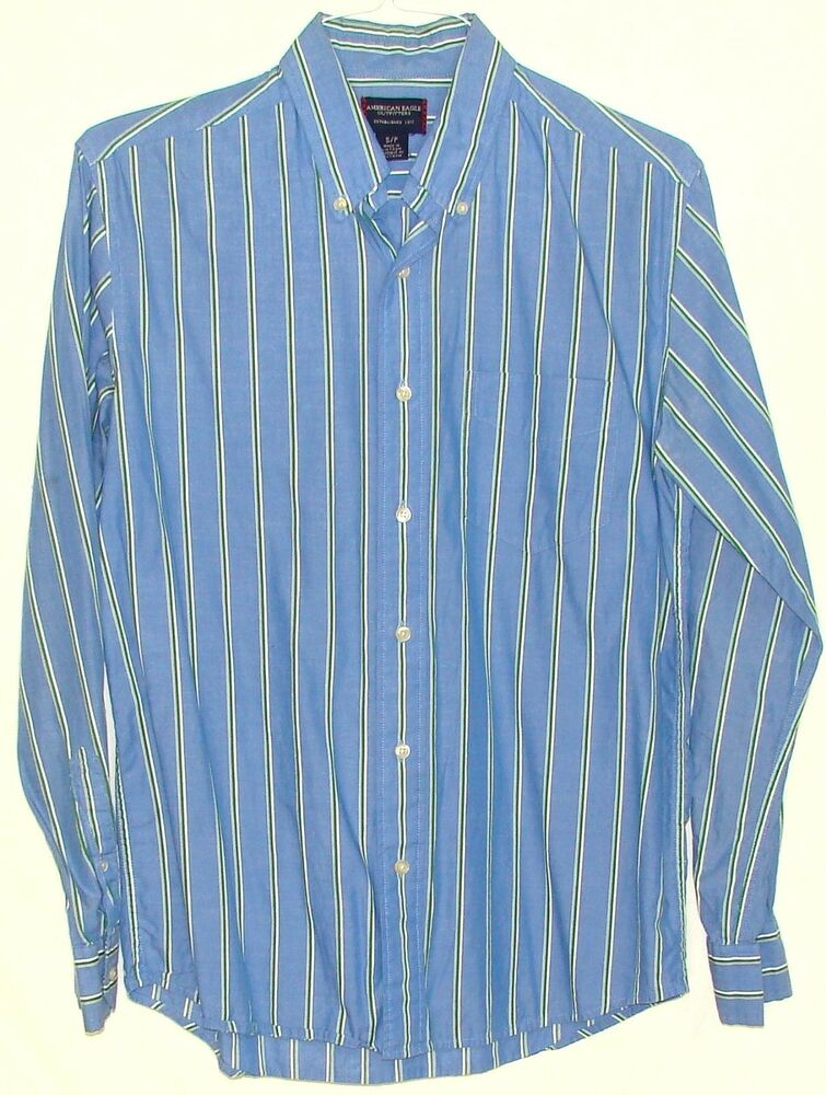 American eagle mens blue 100 cotton striped long sleeve for Mens 100 cotton button down shirts