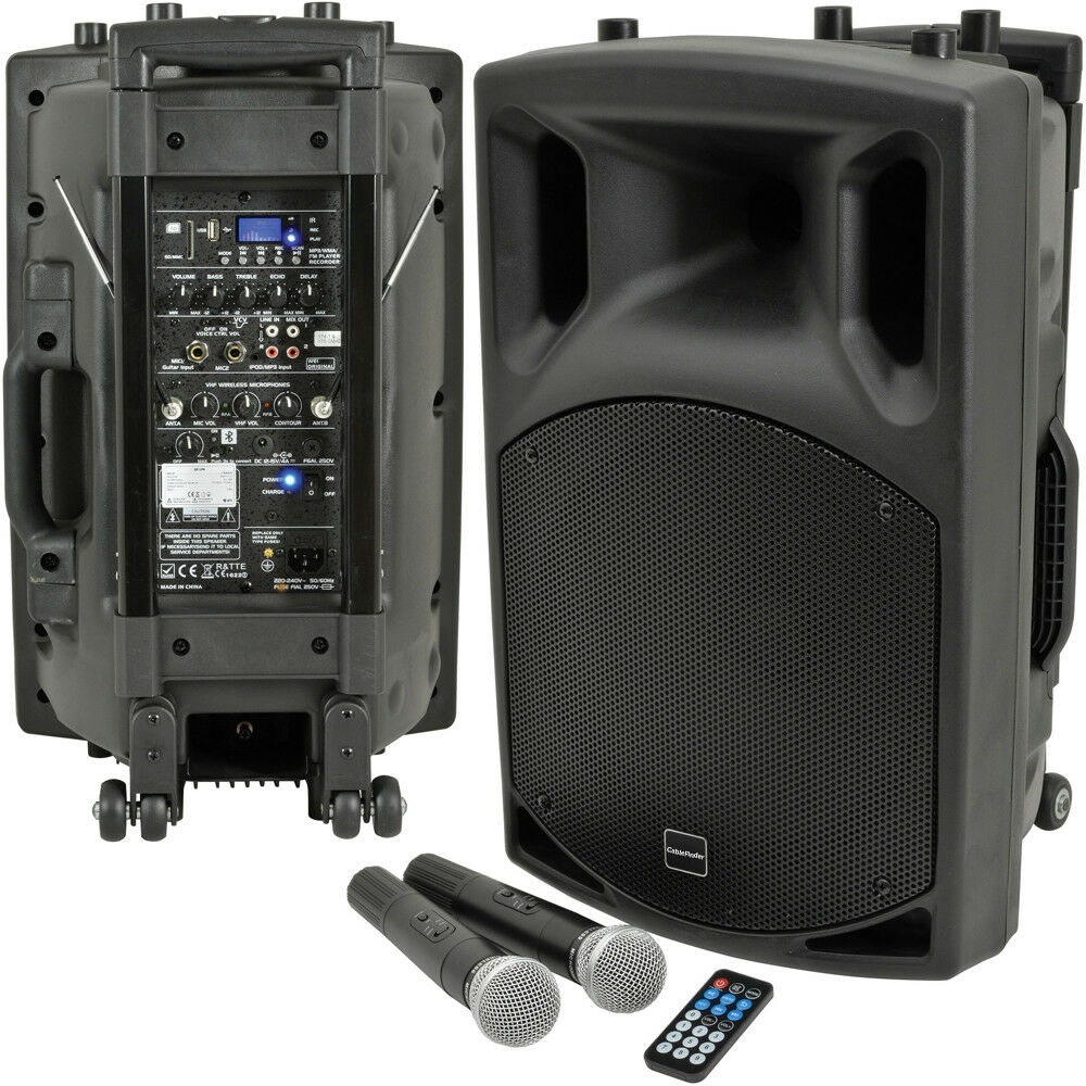 "200W 12"" Outdoor Portable PA Kit–Bluetooth Wireless Speaker Microphone Battery 5055538140907"