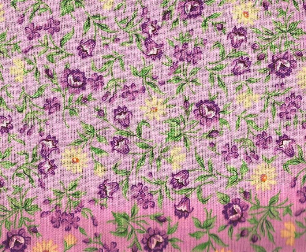 Lilac Purple & Yellow Floral~ 100% Cotton