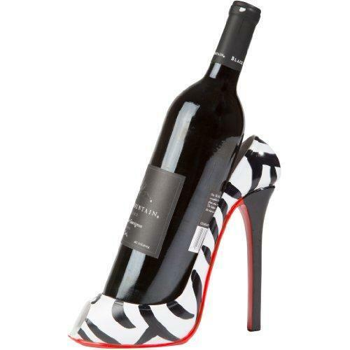 Kitchinnovations Zebra Print High Heel Wine Bottle Holder