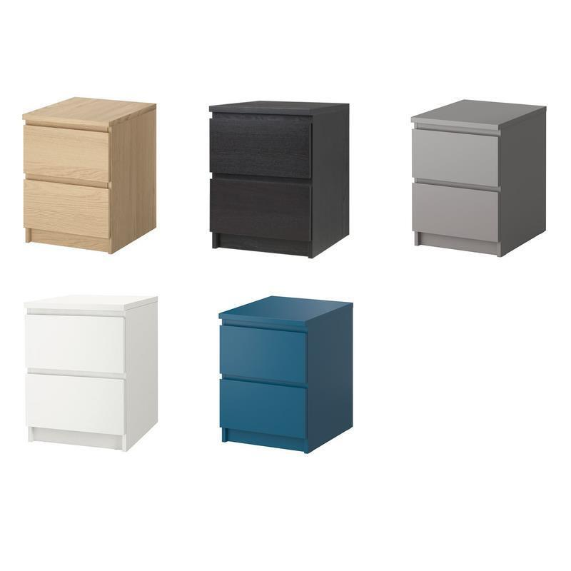 ikea kommode malm 2 schubladen nachttisch ablagetisch 5 farben ebay. Black Bedroom Furniture Sets. Home Design Ideas