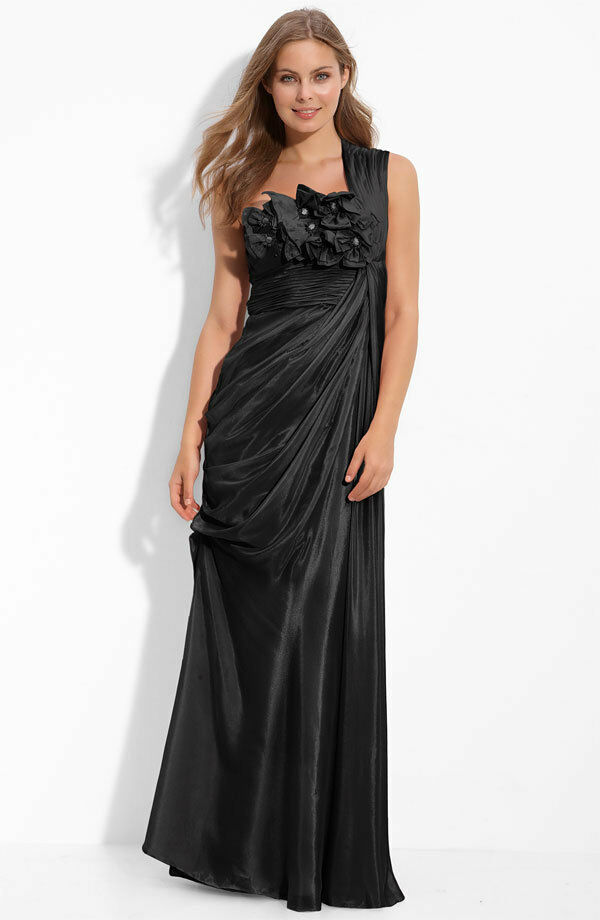 198 Adrianna Papell Black Draped Floral Applique Ruched