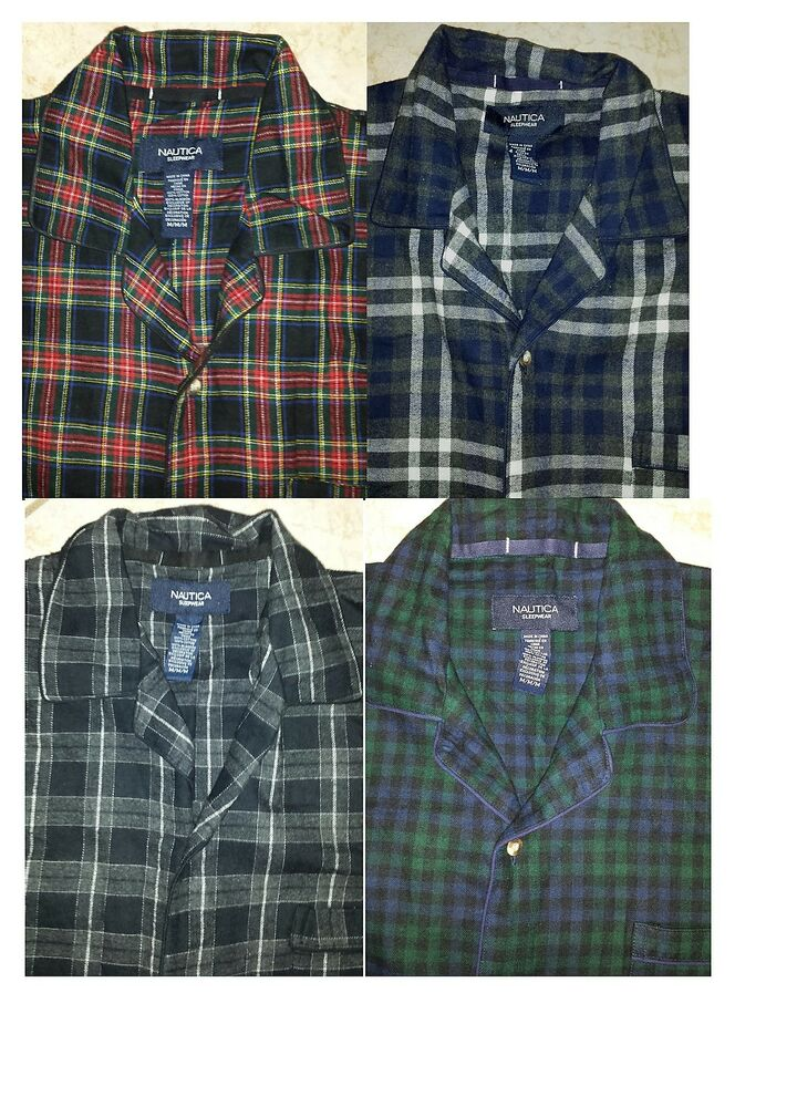 Nautica Mens Long Sleeve Pajama Shirt with Left Front ...
