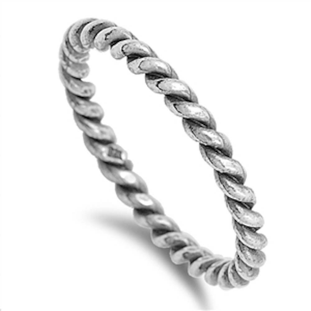 Rope Design Bands: Solid Rope Band Eternity .925 Sterling Silver Ring Sizes 4