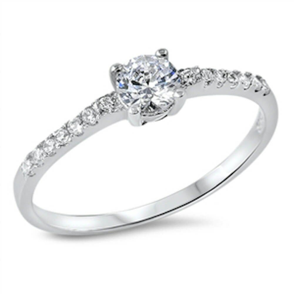 Round Solitaire Cubic Zirconia .925 Sterling Silver Ring
