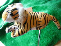 Plush Tiger Blade Golf Putter Head Cover Fun Gift Prize Secure Velcro Fastening
