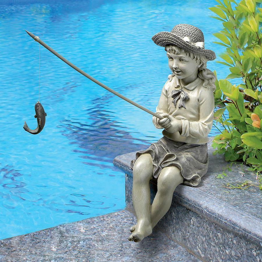 Little girl fisherwoman pond pool garden child statue for Fish garden statue