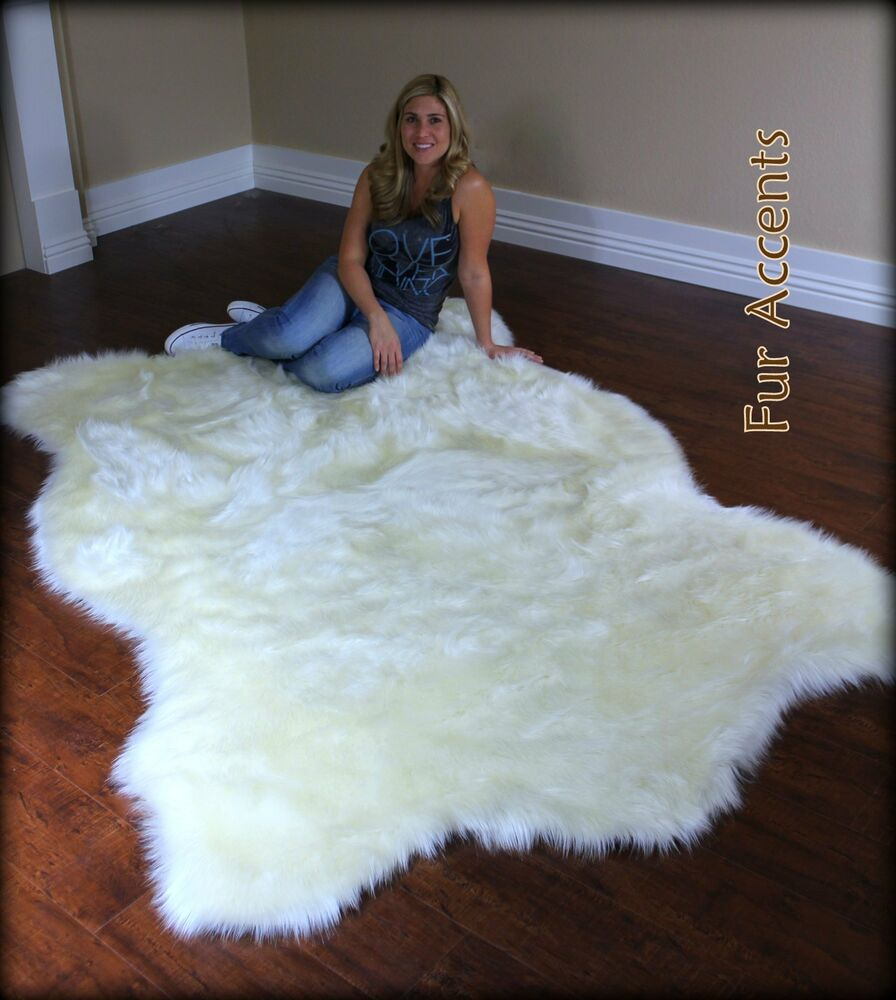 FUR ACCENTS Faux Fur White Polar Bear Area Rug / Off White